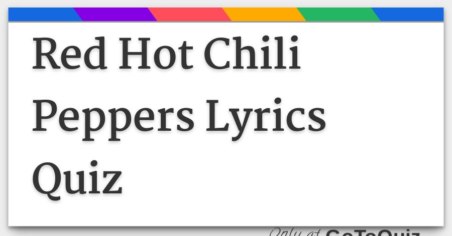 Lyrics red hot chili peppers suck