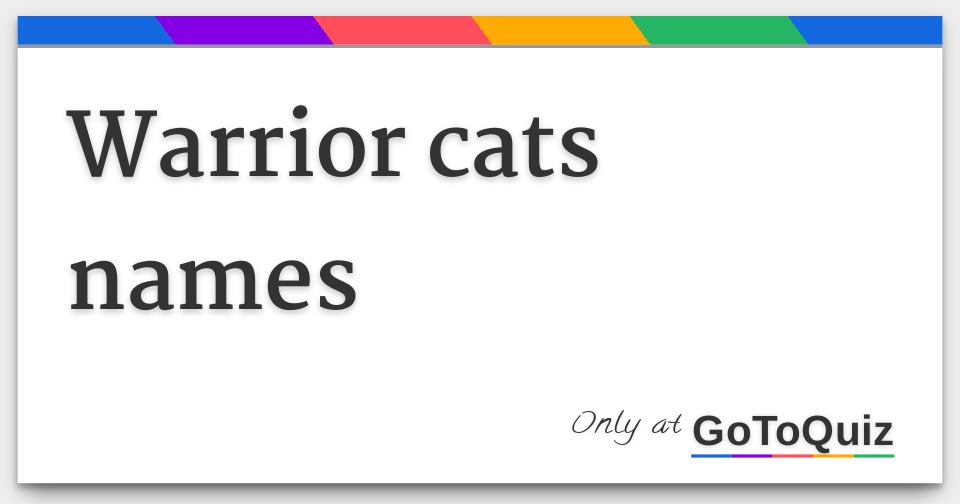 Warrior cats names